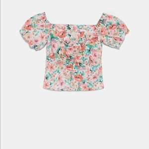 Floral off the shoulder top Zara XS